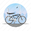 banana seat, beach cruiser, bicycle, bike, circle icon
