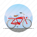 beach cruiser, bicycle, bike, circle icon