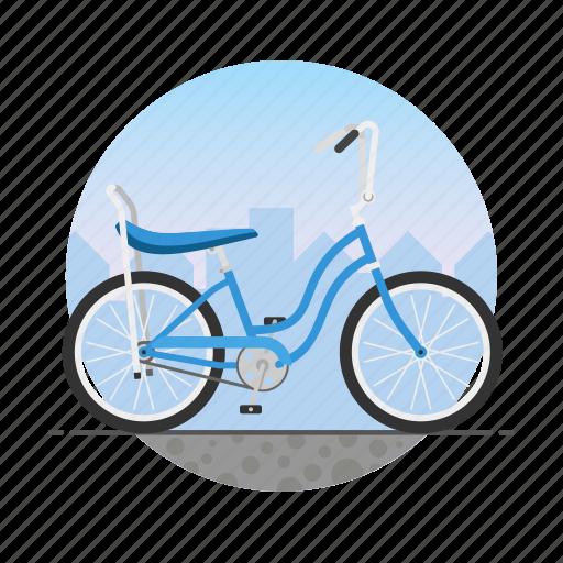 Banana seat, bicycle, bike, circle, girl's bike icon - Download on Iconfinder