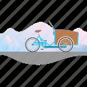 banner, bike, cargo, cargo bike, christiania, delivery bike icon