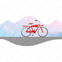 banner, beach cruiser, bicycle, bike icon