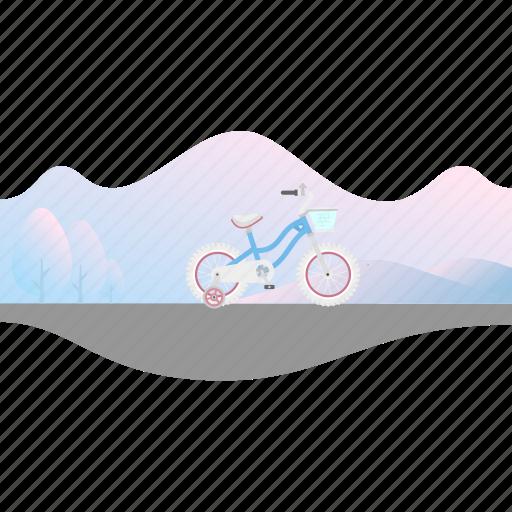 Banner, bike, girl's bike, kid's bike, training wheels icon - Download on Iconfinder