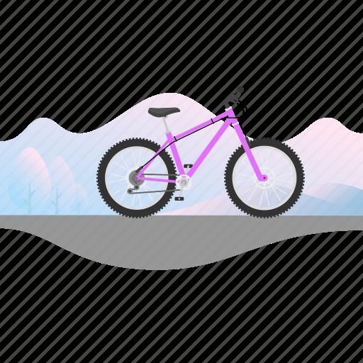 banner, bicycle, bike, mountain bike, offroad bike icon