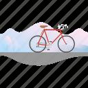 banner, bicycle, bike, racing bike, road bike, ten speed icon