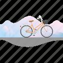 banner, bicycle, bike, women's bike icon
