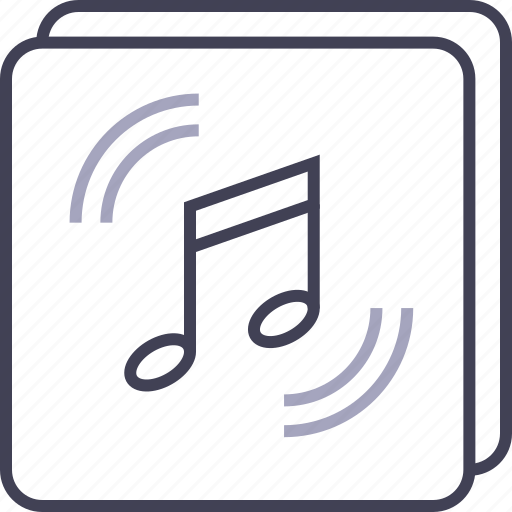 audio, files, multimedia, music, note, play, stacked icon