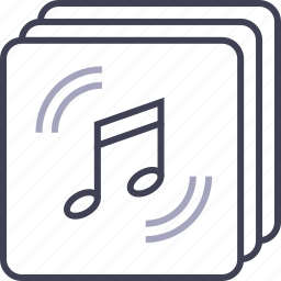 audio, files, multimedia, music, note, stacked icon