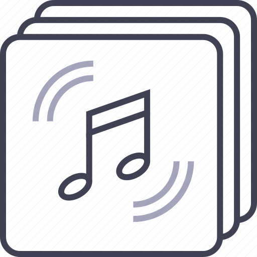 Audio, files, multimedia, music, note, stacked icon - Download on Iconfinder