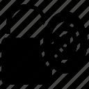 biometric access, biometric identification, biometry, fingerlock authentication, fingerprint lock icon