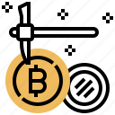 bitcoin, data, dig, mining, money icon