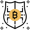 bitcoin, money, protection, safety, security icon