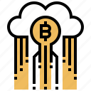 bitcoin, cloud, data, mining, storage icon