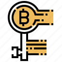 bitcoin, key, money, private, security icon