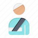 hospital, injured, patient, user icon