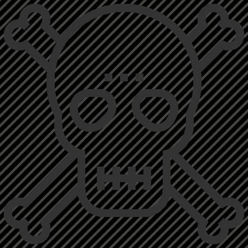 biochemistry, danger, dangerous, death, skeleton, skull icon