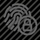 biometric, lock, password, print, protection, scan, security icon