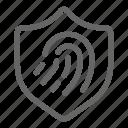 biometric, fingerprint, protection, scan, secure, shield icon