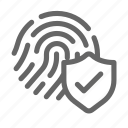 biometric, fingerprint, password, protect, protection, shield icon
