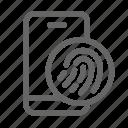biometric, fingerprint, mobile, password, smartphone icon