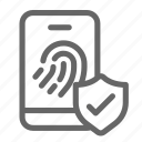 biometric, finger, mobile, password, print, secure, smartphone icon