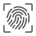 biometric, fingerprint, focus, safety, scan icon