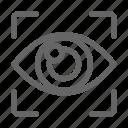 biometric, eye, focus, scan, vision icon