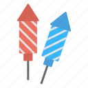 birthday celebration, exploding rockets, fireworks, launching rockets, party celebrations icon