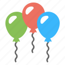 birthday balloons, celebrations, decorating, party balloons, party decorations icon