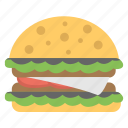 big burger, giant burger, junk food, party snack, party treat icon