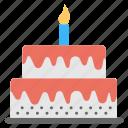birthday cake, birthday celebrations, birthday party, giant cake, layered cake icon