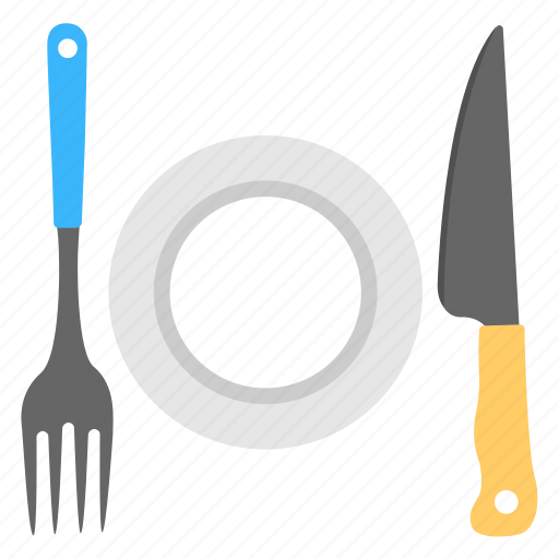 cutlery, dinner set, fork and knife, kitchenware, plate icon