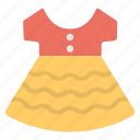birthday party, colorful frock, dress up, girl dress, party dress icon