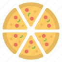 birthday party, party snack, pizza party, pizza slices, pizza treat icon