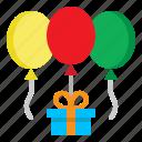 ballons, birthday, box, gift, present icon