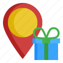 birthday, box, gift, location, point icon