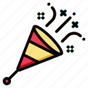 birthday, celebration, confetti, party, popper