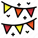birthday, decoration, flags, garland, party icon