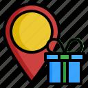 birthday, box, gift, location, point icon