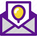 envelope, holiday, kid, party icon