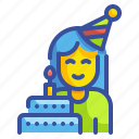 birthday, blow, celebration, party, woman icon
