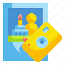 birthday, camera, celebration, party, picture icon