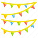 birthday, bunting, celebration, flag, garland icon