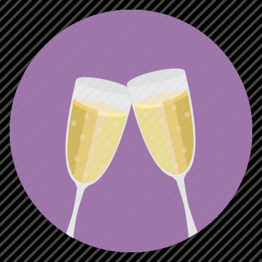 champaign, drink, romance icon