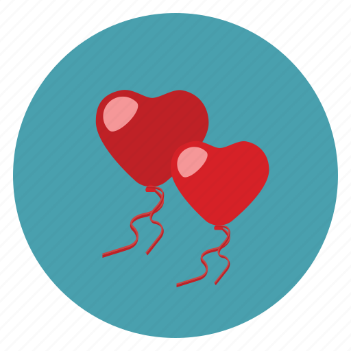 ballons, hearts, love, valentine icon