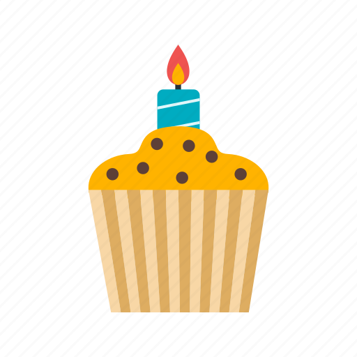 birthday, cake, candle, cup, cupcake, muffin, tasty icon