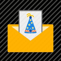birthday, card, celebration, invitation, invite, party, summer icon
