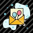 balloon, birthday, envelope, invitation, letter