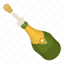 alcohol, bottle, champagne, cork, drink, isometric, object icon