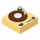 isometric, music, object, player, record, vintage, vinyl