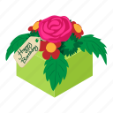 birthday, bouquet, celebration, decorative, flowers, isometric, object